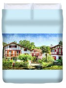 Basque Houses In Ainhoa 2- Vintage Version Duvet Cover