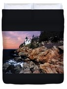 Bass Harbor Head Lighthouse In Maine Duvet Cover by Skip Willits