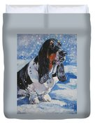 basset Hound in snow Duvet Cover by Lee Ann Shepard