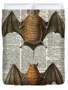 Bat Anatomy Animal Vintage Illustration Dictionary Art Duvet Cover by Anna W