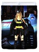 Bat Gal In The City Duvet Cover