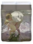Bathing On The Beach Duvet Cover