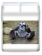 Bathing Osprey In Shallow Water Duvet Cover