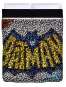 Batman Bottle Cap Mosaic Duvet Cover
