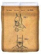 Batman Cowl Patent In Sepia Duvet Cover