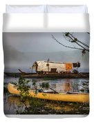 Batteau And Canoe In Fog At Galt's Mill 1708 Duvet Cover