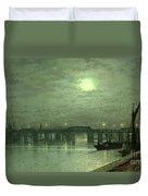 Battersea Bridge By Moonlight Duvet Cover by John Atkinson Grimshaw