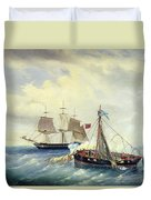 Battle Between The Russian Ship Opyt And A British Frigate Off The Coast Of Nargen Island  Duvet Cover