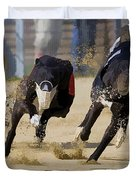 Battle Of The Racing Greyhounds At The Track Duvet Cover