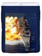 Battleship Uss Iowa Firing Its Mark 7 Duvet Cover by Stocktrek Images