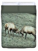 Battling Elk Duvet Cover
