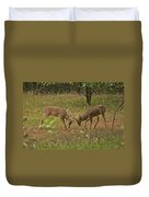 Battling Whitetails 0102 Duvet Cover by Michael Peychich