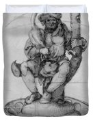 Bauer Goose With A Fountain Figure Duvet Cover