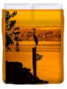 Bay At Sunrise - Heron Duvet Cover