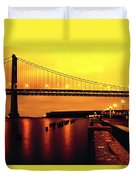 Bay Bridge Black And Orange Duvet Cover