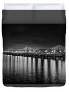 Bay Bridge San Francisco California Black And White Duvet Cover
