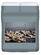 Bay Bridge With Houses And Hills Duvet Cover