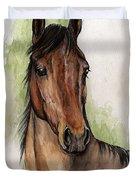 Bay Horse Portrait Watercolor Painting 02 2013 Duvet Cover