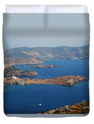 Bay View On Patmos Island Greece Duvet Cover
