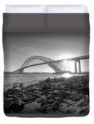 Bayonne Bridge Black And White Duvet Cover