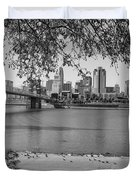 Beach An Cincinnati Skyline  Duvet Cover