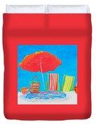 Beach Art - The Red Umbrella Duvet Cover