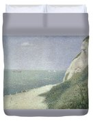 Beach At Bas Butin Duvet Cover by Georges Pierre Seurat