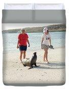 Beach  At Santa Fe Island In Galapagos Duvet Cover