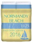 Beach Badge Normandy Beach 2 Duvet Cover