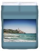 Beach By Jaffa Yafo Old Town Area Of Tel Aviv Israel Duvet Cover