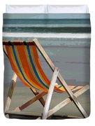 Beach Chair And Ocean Stripes Duvet Cover