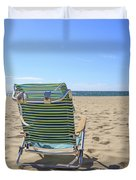 Beach Chair On A Sandy Beach Duvet Cover
