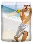Beach Cricket Slog Duvet Cover