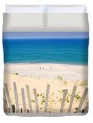 beach fence and ocean Cape Cod Duvet Cover by Matt Suess