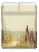 Beach Fence In Grassy Dune South Carolina Duvet Cover