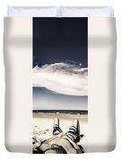 Beach Holiday Man Vertical Panorama Duvet Cover