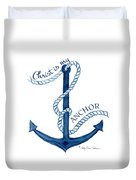 Beach House Nautical Ship Christ Is My Anchor Duvet Cover