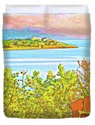 Beach House On The Bay Duvet Cover