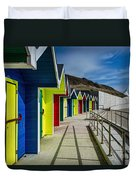 Beach Huts At Barry Island Duvet Cover