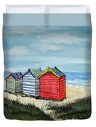 Beach Huts On The Sand Duvet Cover