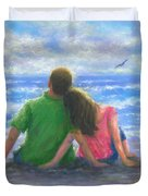 Beach Lovers Pink And Green Duvet Cover
