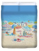 Beach Painting - Crowded Beach Duvet Cover