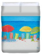 Beach Painting - Deck Chairs Duvet Cover
