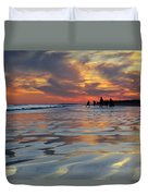 Beach Play At Dusk Duvet Cover