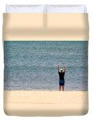 Beach Side Exercises Duvet Cover