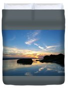 Beach Skyset On A Cornish Beach Cornwall Duvet Cover