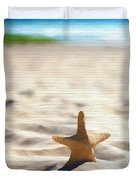 Beach Starfish Wood Texture Duvet Cover