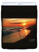 Beach Sunset And Cross Duvet Cover