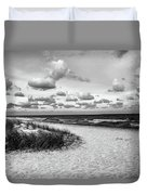 Beach Sunset Bw Duvet Cover