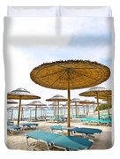 Beach Umbrellas And Chairs On Sandy Seashore Duvet Cover by Elena Elisseeva